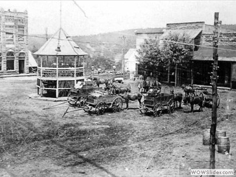 View of the square and the new town gazebo c. 1920.